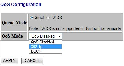 Figure 1-11-1 QoS Mode: QoS Disabled When the QoS Mode is set to QoS Disabled, the following table is displayed. Figure 1-11-2 QoS Mode: 802.
