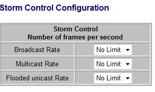 Figure 1-13-1 Enable Rate Limit: Click the check box to enable storm control. Rate (number of frames per second): The Rate field is set by a single drop-down list.