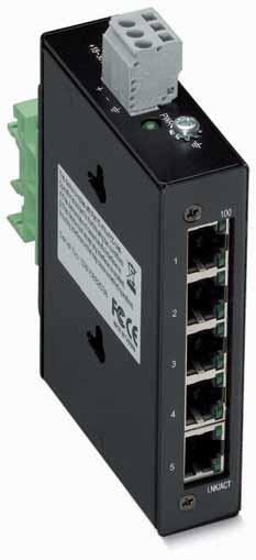 - -Port BASE- Industrial Eco Switch +~0V DC + - The - has ports with each port featuring Auto-negotiation and auto MDI/MDI-X detection.