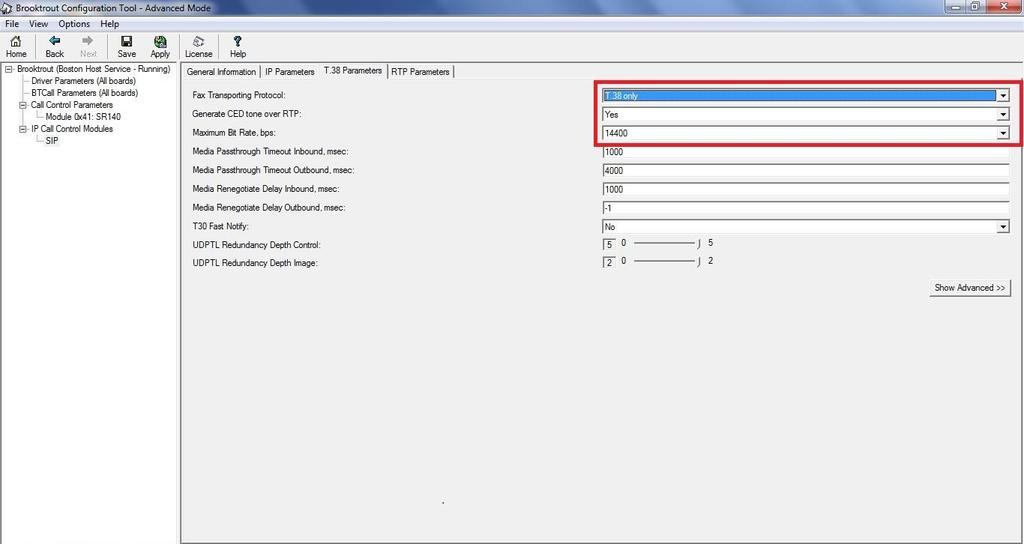 Select SIP under IP Call Control Modules and open the T.38 Parameters tab Confirm that Fax Transporting Protocol is set to T.
