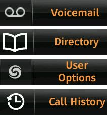 Voice Mail: Displays Voice Mail Viewer with 3 tabs: Inbox, Saved, and Deleted. Configuring Virtual Keys You have the option to configure 12 virtual keys to perform a specific action when pressed.