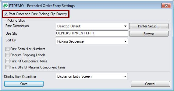 Use the Settings chice n the Extended Order Entry File menu t select picking slip default settings, s yu dn t need t answer the setup questins in a pp-up dialg bx: Select the