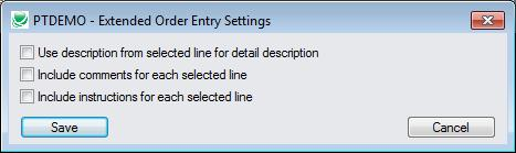 Setting default descriptins, cmments and instructins fr included items Yu can select the default settings fr taking descriptins, cmments and instructins frm the riginal rders.