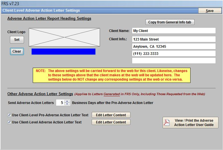 The Adverse Actin Letter Reprt Heading Settings: These settings prvide the ability t Set a Lg Graphic and Return Address Infrmatin fr yur client.