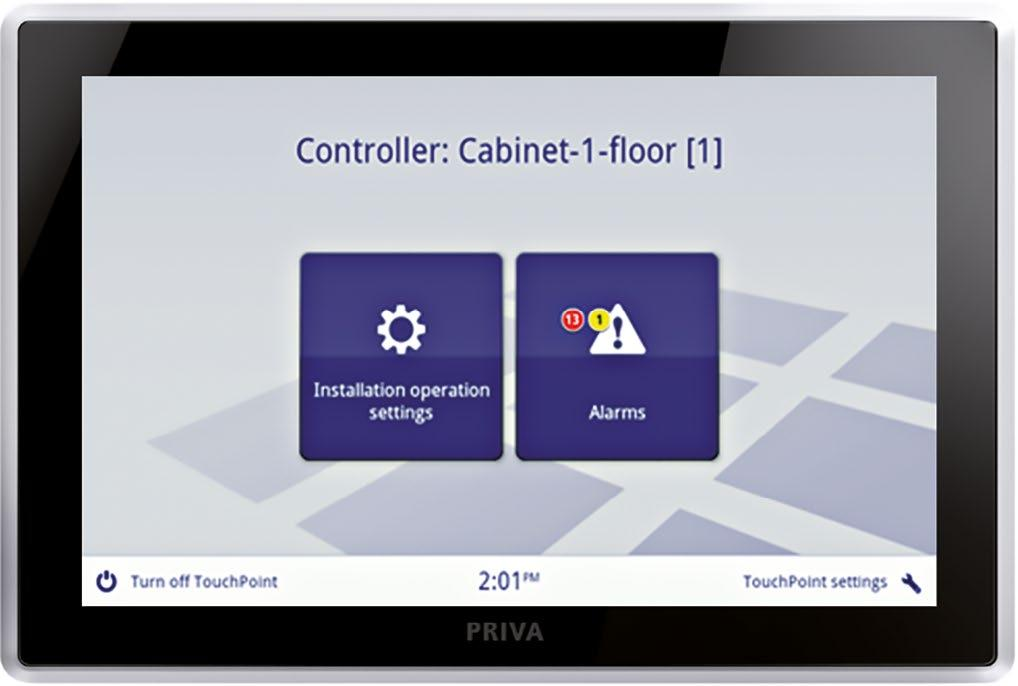 > Priva Blue ID Touchpoint for room operation an amazingly user-friendly interface on a high-quality touchscreen developed for users of any type of space in a building.