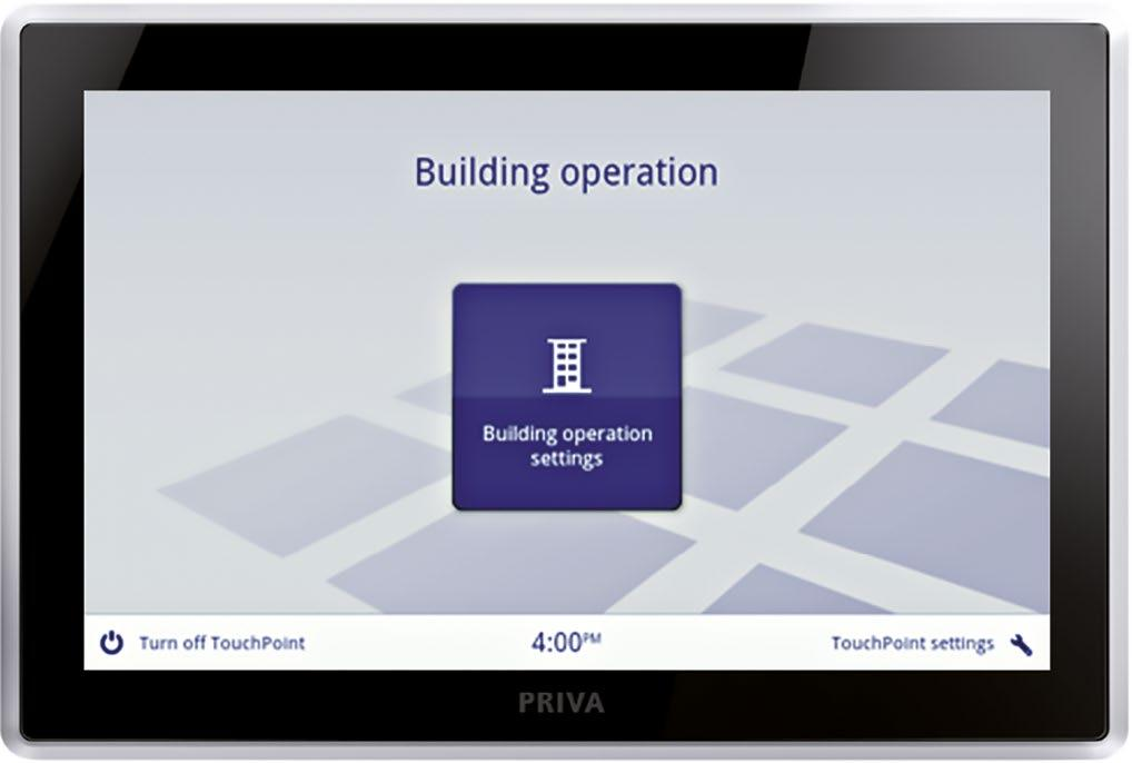 > Priva Blue ID Touchpoint for installation operation a technical interface for installers and other technical personnel to manage the Priva Blue ID installation from the control panel facia.