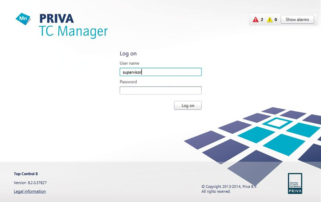 PRIVA TC MANAGER On-the-go access The Priva Blue ID controller comes with a built-in web server with Priva TC Manager.