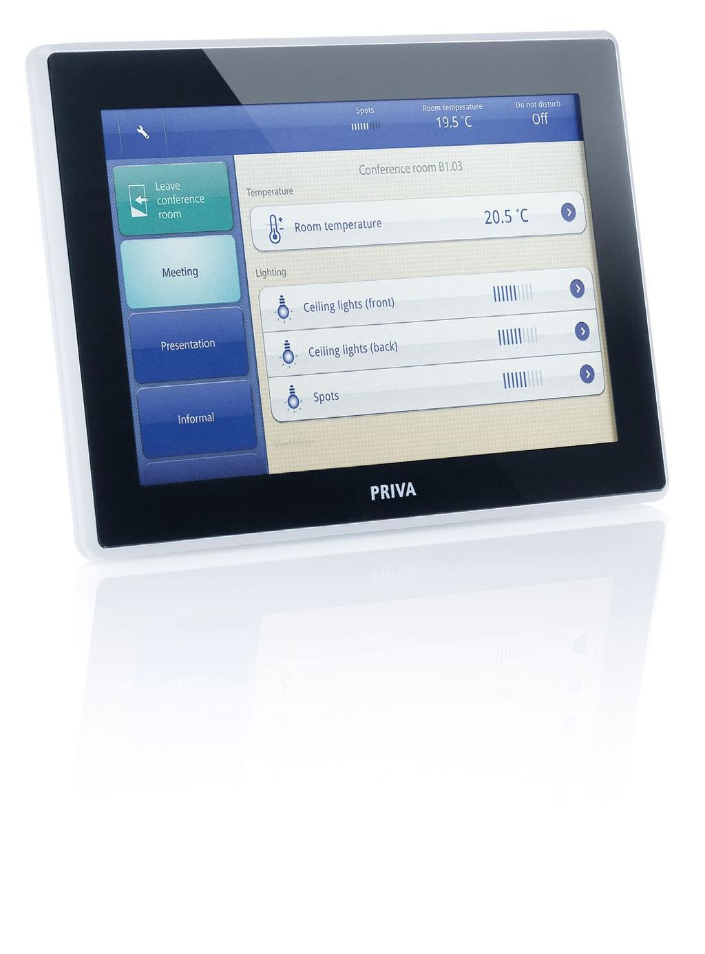 PRIVA BLUE ID TOUCHPOINT Priva Blue ID Touchpoint: control spaces and buildings in style For the intuitive operation of spaces and smaller buildings, Priva developed Blue ID Touchpoint, a