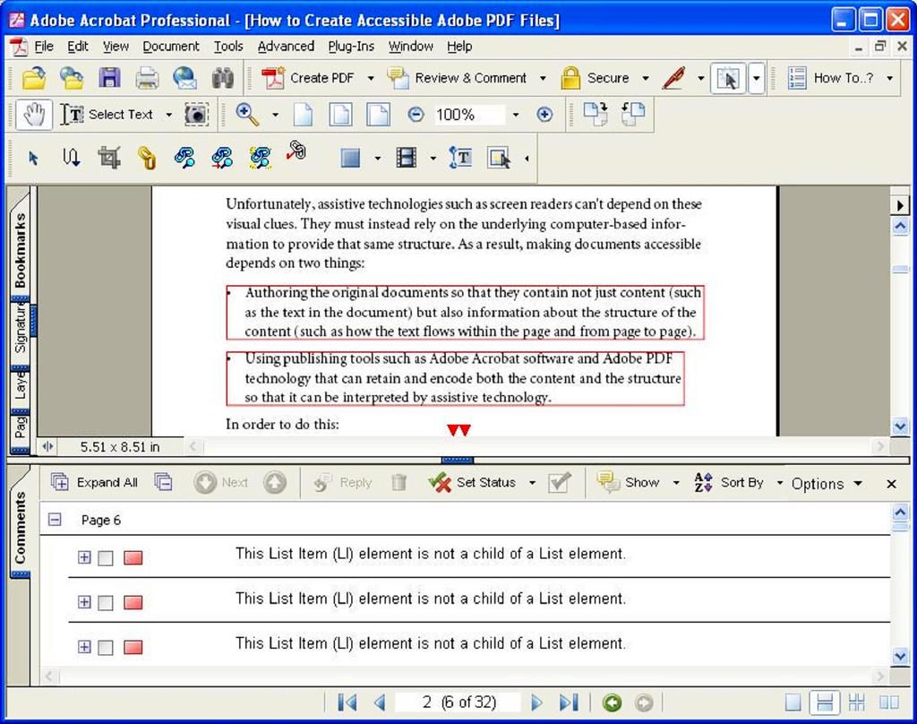 Section One: Checking PDF Documents for Accessibility 9 A PDF document with the Comments List showing in the bottom half of the window Delete comments from the PDF document after the accessibility
