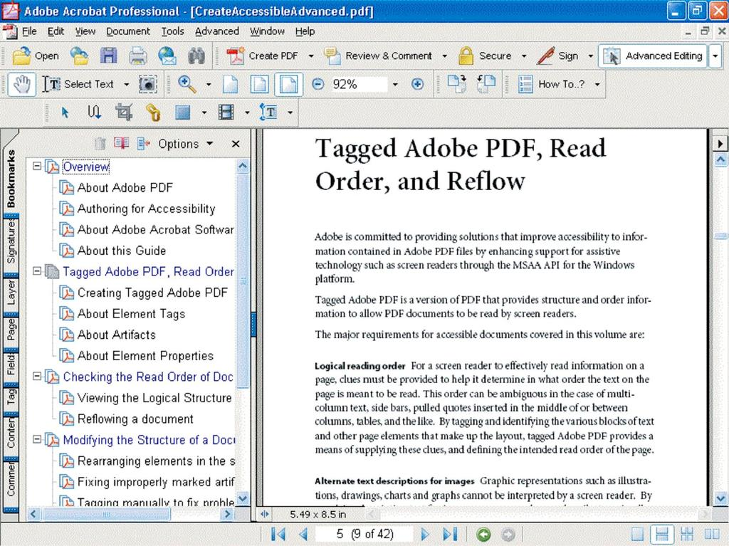 Section Seven: Optimizing the Accessibility of Tagged PDF Documents 56 Creating document navigation Create bookmarks to help readers navigate PDF documents.