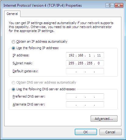 following DNS server address radio buttons. Then click OK to exit the setting.