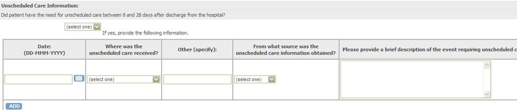 Other Hospital UnschedDay, # UnschedLoc, # UnschedLocOther, $19 UnschedSource, # FollowUp_Unsched UnCare 1 = ED/Emergent