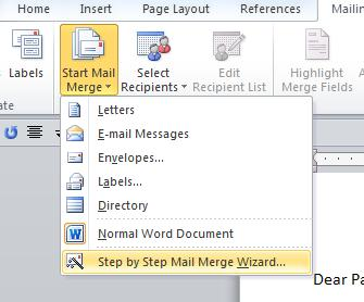 4. Click on the Start Mail Merge icon. On the dropdown menu, click on Step by Step Mail Merge Wizard. 5.