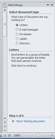 Step 1: Select document type. Letters is already selected for you. Click on the blue highlighted Next: Starting document. 7.