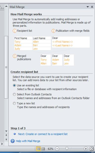 Mail merge in Publisher (certificates, postcards, tickets, etc.