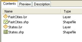 2 6. In the Catalog Tree within ArcCatalog, find the Lab1Data folder and double-click to open it. The contents of the Lab1Data folder are shown under the Contents tab of the Catalog Window(see below).