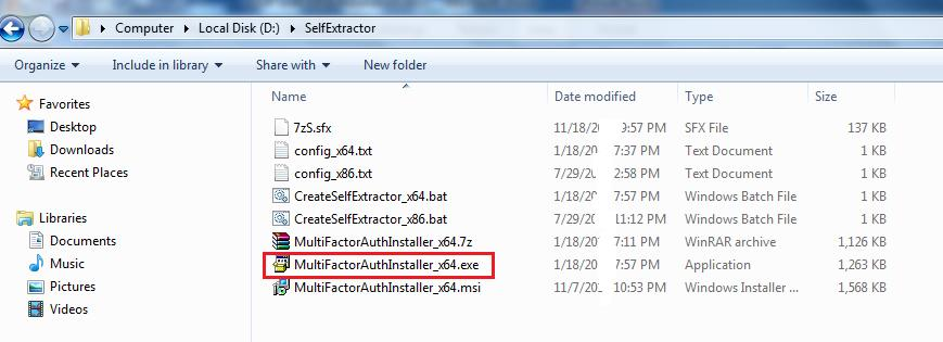 exe), the output name can be changed to any name of your choice. Double click on CreateSelfExtractor_x64.bat file You should see MultiFactorAuthInstaller_x64.