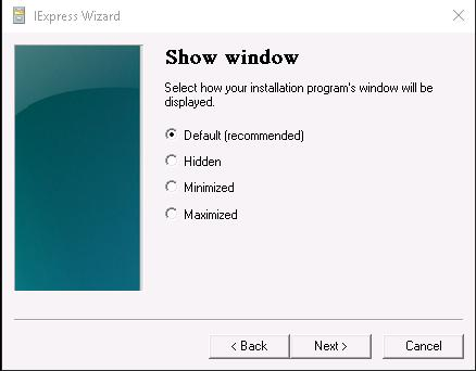 11. Keep the Default (recommended) option selected and click Next 12.