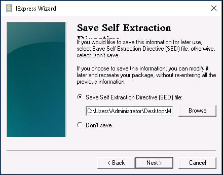 Keep the default Save Self Extraction