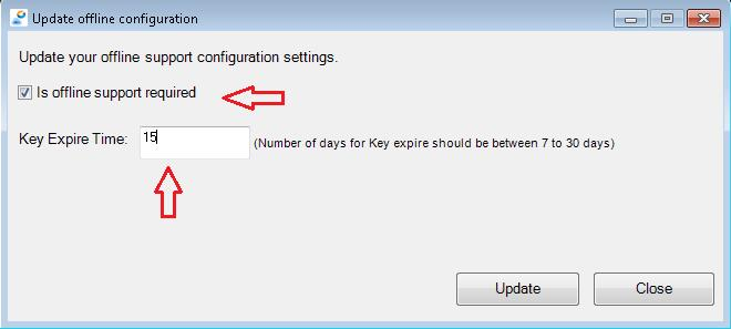 Figure: Update offline configuration in Multifactor 3. Update offline configuration window appears. Select Is offline support required check box and enter the Key Expire Time between 7 to 30 days.