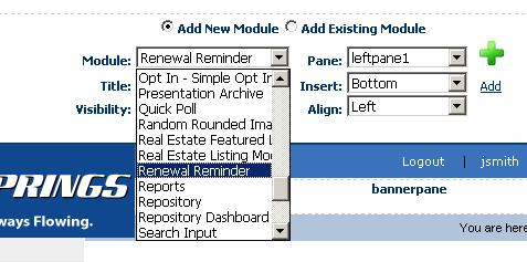 3 ADDING RENEWAL REMINDER MODULE TO A PAGE In rder t add Renewal Reminder mdule t a desired page fllw these steps: 1.