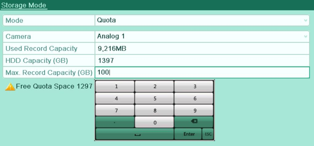 Select a camera for which you want to configure quota. 4. Enter the storage capacity in the text field of Max. Record Capacity (GB), as shown in Figure 10. 18. Figure 10. 18 Configure Record Quota 5.