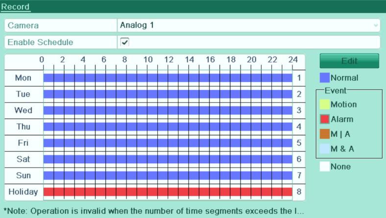 22 Edit Schedule- Holiday Figure 5. 23 Draw Schedule- Holiday Up to 8 periods can be configured for each day. And the time periods cannot be overlapped each other.