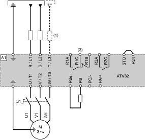 Disconnect Connection diagrams conforming to standards EN 954-1 category 1 and IEC/EN 61508 capacity SIL1, stopping category 0 in accordance with (1) Line choke (if used) (3) Fault relay contacts,