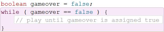 Here is an example using a boolean value: The above code would create an infinite loop if executed.