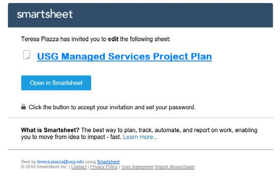 2.0 Accessing Smartsheet and Yur Prject Plan 2.1 Smartsheet Lgin All Smartsheet access t institutins prject plans will be granted thrugh individuals institutinal email addresses.