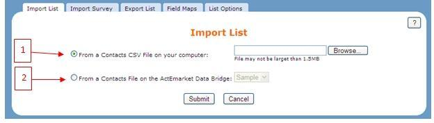 4. List: Imprt List Here, select a cntact field frm the drp-dwn list and a mdifier (cntains, is greater than, etc.
