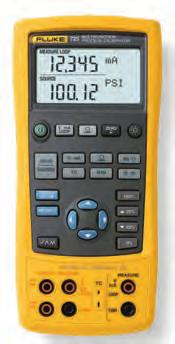 volts, ma, thermocouples, RTDs, frequency, and pressure to calibrate transmitters Measure or source pressure using any of 29 Fluke 750Pxx Pressure Modules Source ma with simultaneous pressure