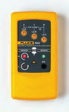 The Fluke 9040 is a rotary field indicator and can provide clear indication of the 3 phase via an LCD display and the phase rotation direction to determine correct connections.