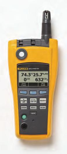 Fluke 975 AirMeter Simple, one-touch air velocity Fluke 975 Specifications The Fluke 975 AirMeter test tool raises indoor air monitoring to the next level by combining five powerful tools in one