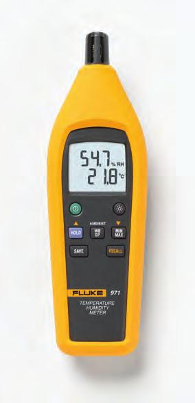 Fluke 971 Temperature Humidity Meter Fluke 971 Specifications Temperature range -20 ºC to 60 ºC Temperature accuracy 0 ºC to 45 ºC -20 ºC to 0 ºC and 45 ºC to 60 ºC Temperature and humidity are two