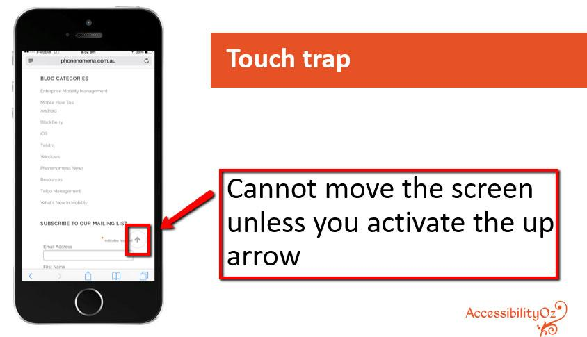 Screen reader swipe traps VoiceOver