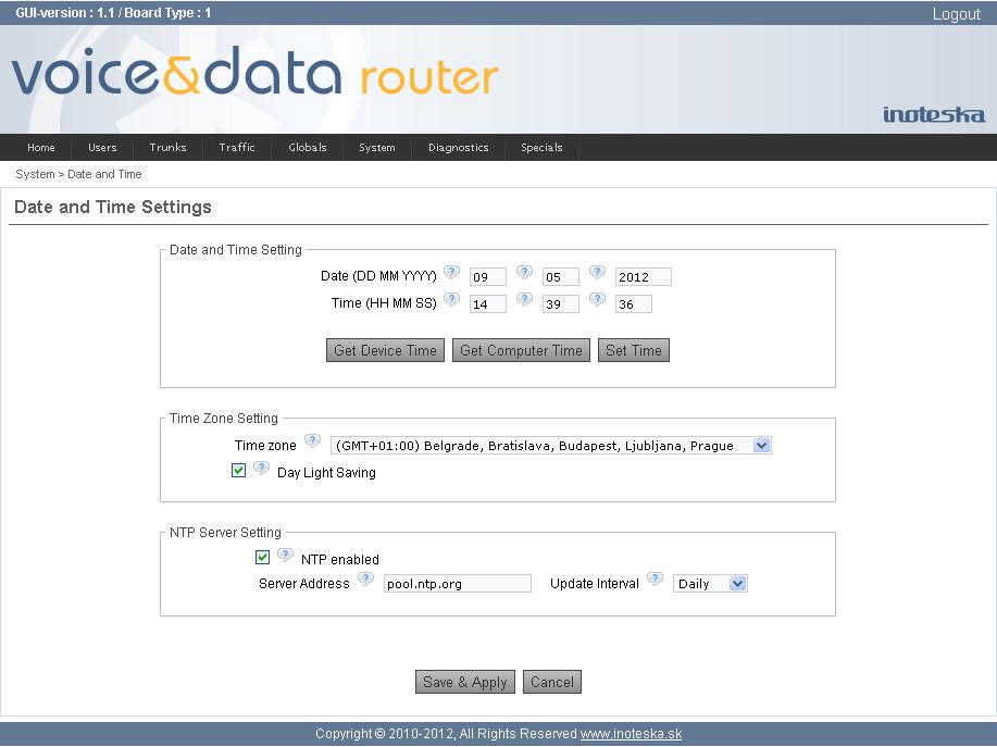 Date and Time Voice&Data Router system time adjustment. Date and Time Setting Date, Time Current date and time.