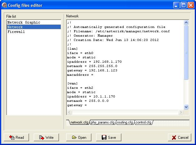 CONFIGURATION FILES EDITOR Configuration files editor provides access to the device configuration. Just now there is available only network configuration for Voice&Data Router.