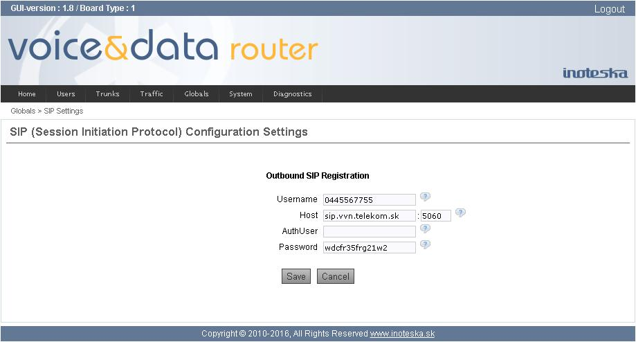 Registrations These global outbound SIP registrations can be useful for instances when Voice&Data Router needs to register multiple users/extensions to a single SIP