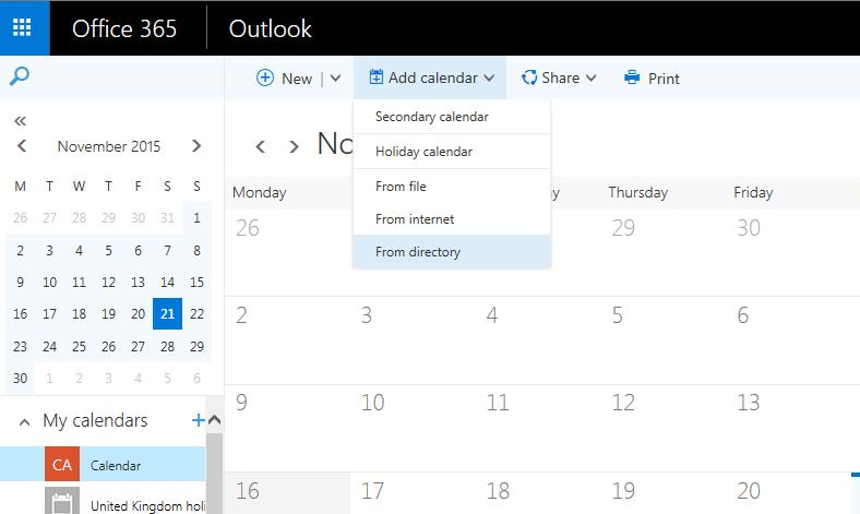 Calendar To access your personal calendar, click on Calendar from the apps menu.