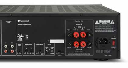 design for stability under demanding loads. All models feature auto signal-sensing inputs and bridgeable channel for precise level matching and dual speaker outputs for convenience.