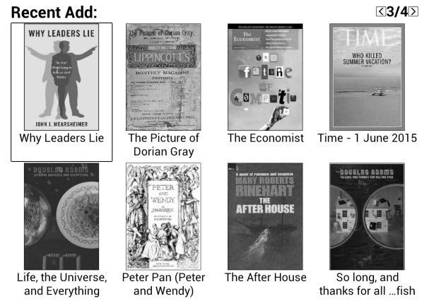 Recently Read/Recently Added The newly added books will be listed here chronologically. Slide the screen or press the prev/next button to turn pages.