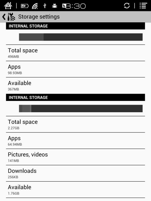 Storage Here it displays the total storage of device, including the usage of local storage,