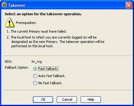 Administering VVR using VVR VEA Taking over from an original Primary using VVR VEA 333 3 Choose Replication > Takeover. To use the pop-up menu, right-click the name of the RDS and select Takeover.