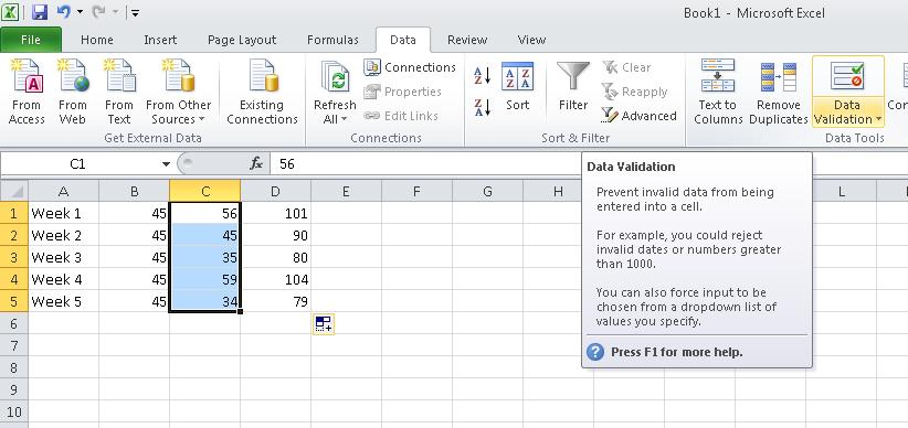 Data Validation To validate data click on the cell range you wish