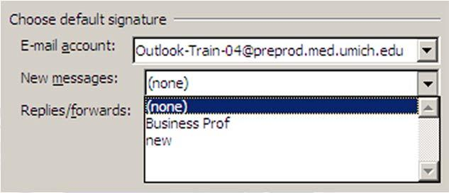 going items. Once an E mail Signature has been created it can be assigned as a default for specified types of out going items. These assignments can be modified, deleted or edited as needed.