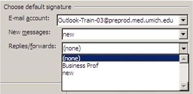 E mail Signatures Level 1/Guide H, p.3 Assigning Default Signatures (continued) To assign a default signature for new out going messages use the drop down menu to select the desired signature.