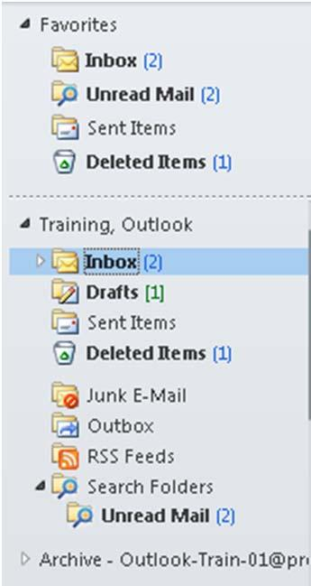 Outlook 2010 Window Anatomy Main Folders, Archive and Favorites Level 1/Guide A, p.3 The Navigation Pane displays all the folders that divide your Inbox.
