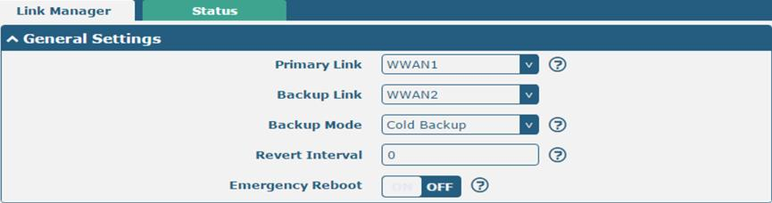 Configure the Cellular Connection Click Interface > Link Manager > Link Manager > General Settings, choose WWAN1 as the primary link and WWAN2 as the backup link, and set