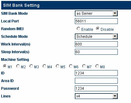 Select server mode from the SIM Bank mode drop-down menu, and set the local port, which will be used as the login port of the remote-end device.